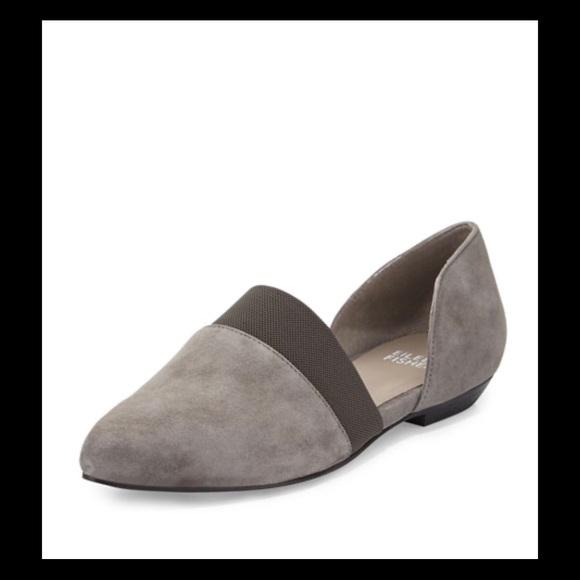 Eileen Fisher Graphite Full Suede DOrsay Slip-On Flats Size 9.5